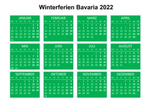 WinterferienKalender 2022 Bavaria Zum Ausdrucken