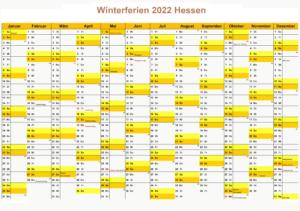 Winterferien Kalender 2022 Hessen Drucken