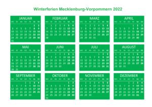 Winterferien Kalender 2022 Mecklenburg-Vorpommern Drucken