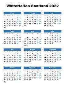 Winterferien Kalender 2022 Saarland Excel
