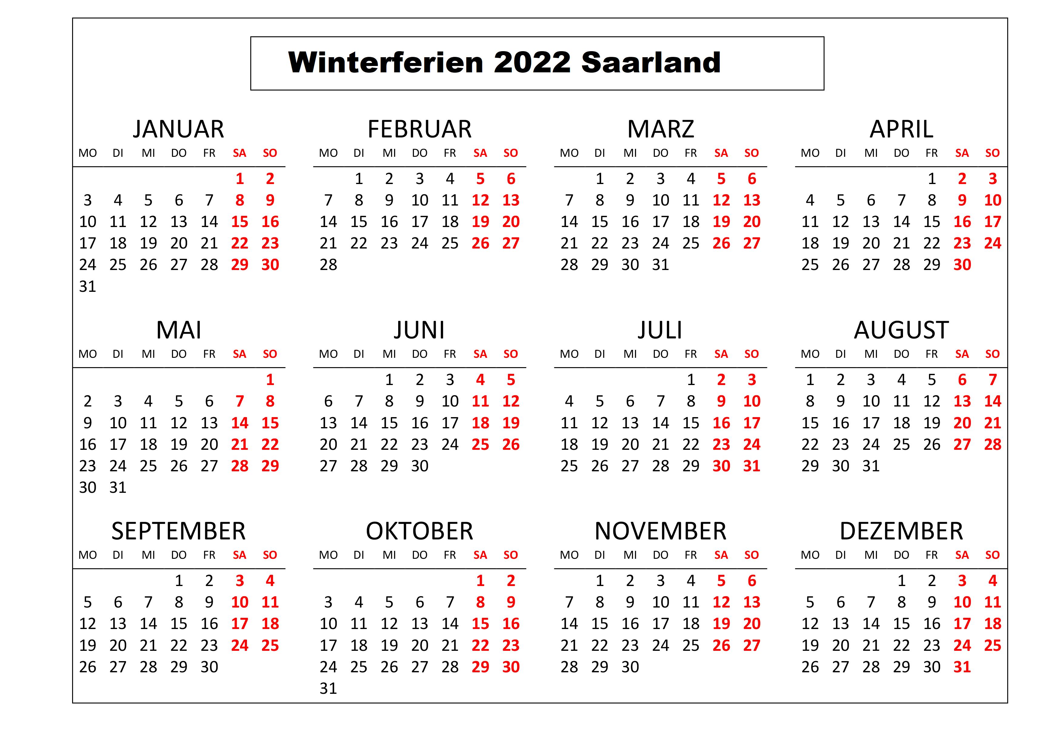 WinterferienKalender 2022 Saarland Zum Ausdrucken