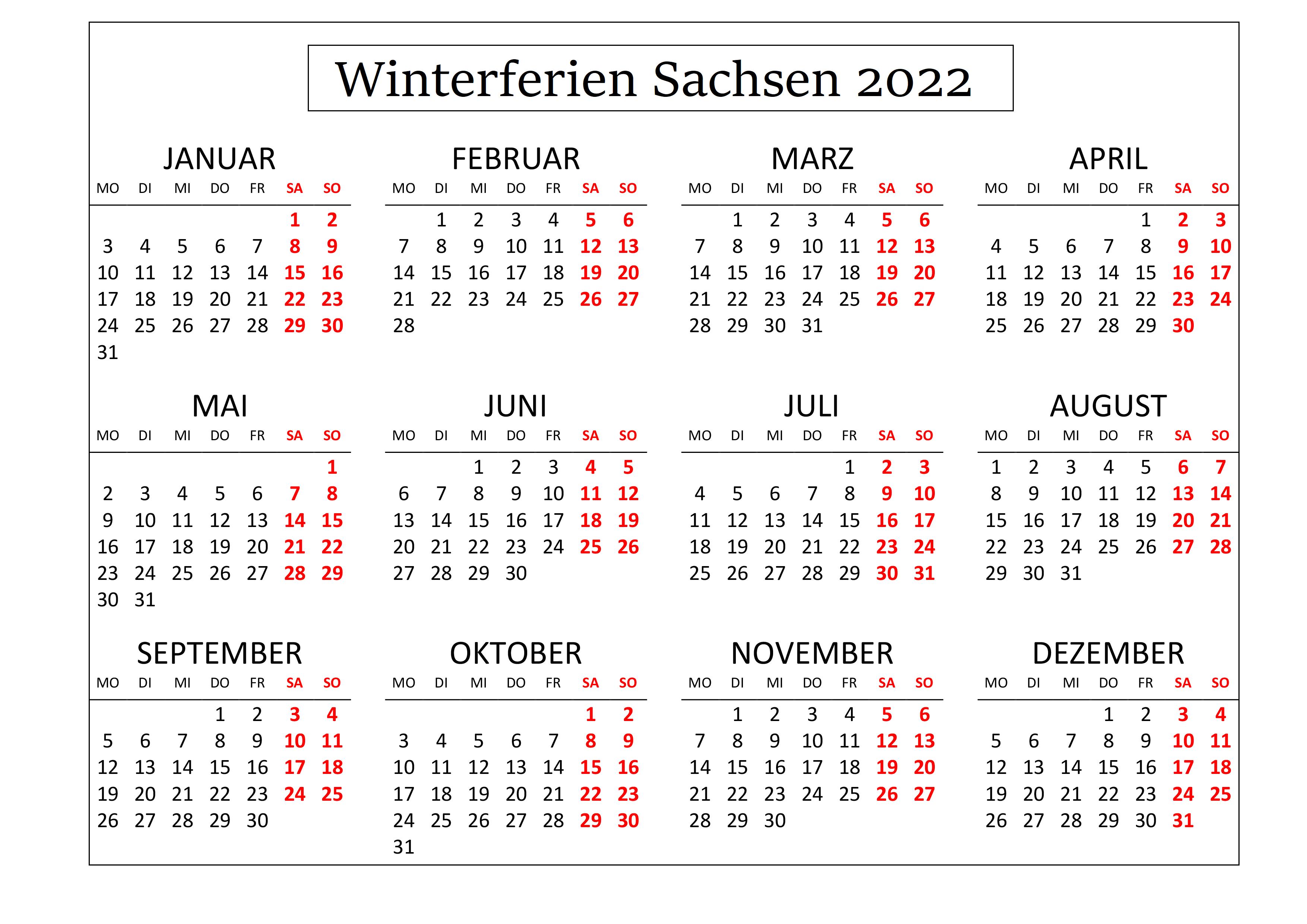 Winterferien Sachsen 2022 Kalender