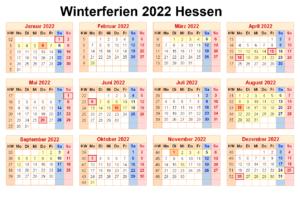 Winterferien Und Feiertage Hessen 2022 Kalender