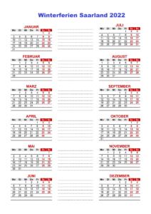 Winterferien Und Feiertage Saarland 2022 Kalender